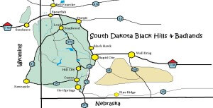 This Map shows the major highwas and featurs of the Black Hills and Badlands in South Dakota #sdmap