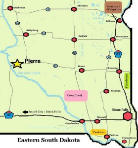 This Map of Eastern South Dakota shows major landmarks and communities. Major landmarks and regions are also Identified.