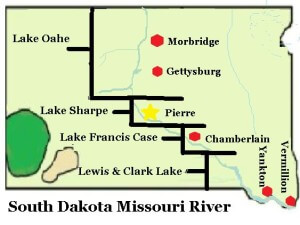 This image shows the four reservoirs on the South Dakota Missour River. Lake Oahe, Lake Sharpe, Lake Francis Case, and Lewis and Clark Lake. #MAP