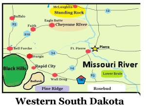 This picture shows the major highways and locations in Western South Daktoa. #map #siouxland